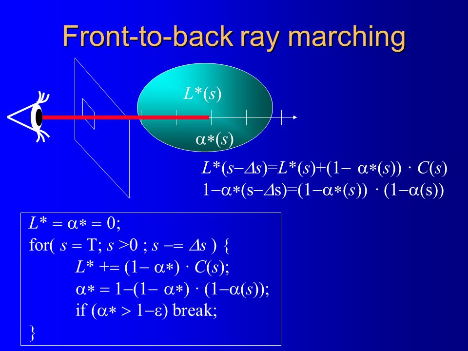 Front-to-back ray marching L*   0; for( s  T; s >0 ; s   s ) { L* +  (1   ) · C(s);  (1   ) · (  (s)); if (  break; } L*(s)  (s) L*(s  s)=L*(s)+(1   (s)) · C(s)  (s  s)=(  (s)) · (  (s))