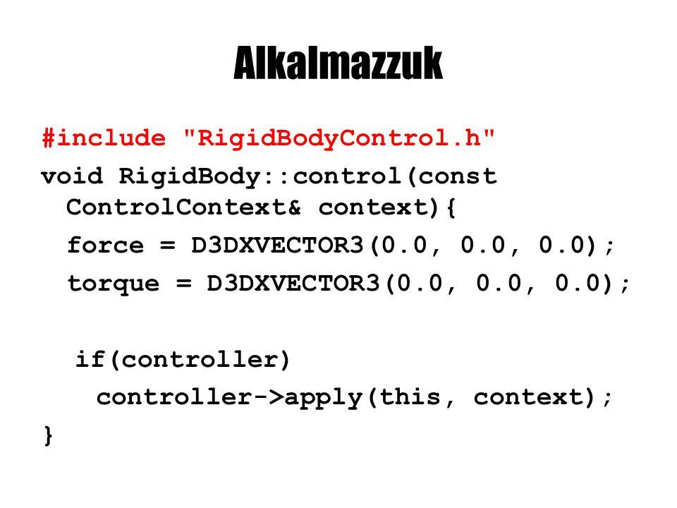 RigidBody::control if(rigidModel->getInvMass() > 0.0) { D3DXMATRIX transposedRotationMatrix; D3DXMatrixTranspose(&transposedRotationMatrix, &rotationMatrix); D3DXVECTOR3 modelMomentum; D3DXVec3TransformNormal(&modelMomentum, &momentum, &transposedRotationMatrix); D3DXVECTOR3 velocity = modelMomentum * rigidModel->getInvMass(); D3DXVECTOR3 modelDragForce = D3DXVECTOR3( velocity.x * rigidModel->drag.x, velocity.y * rigidModel->drag.y, velocity.z * rigidModel->drag.z); modelDragForce *= D3DXVec3Length(&modelDragForce); D3DXVECTOR3 worldDragForce; D3DXVec3TransformNormal(&worldDragForce, &modelDragForce, &rotationMatrix); // folyt.