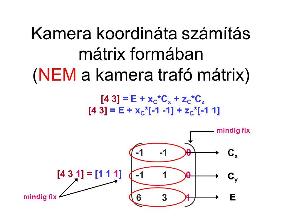 Kamera trafó mátrix [4 3 1] = [1 1 1] -1 -1 0 -1 1 0 6 3 1 [4 3 1]= [1 1 1] -1 -1 0 -1 1 0 6 3 1 -1