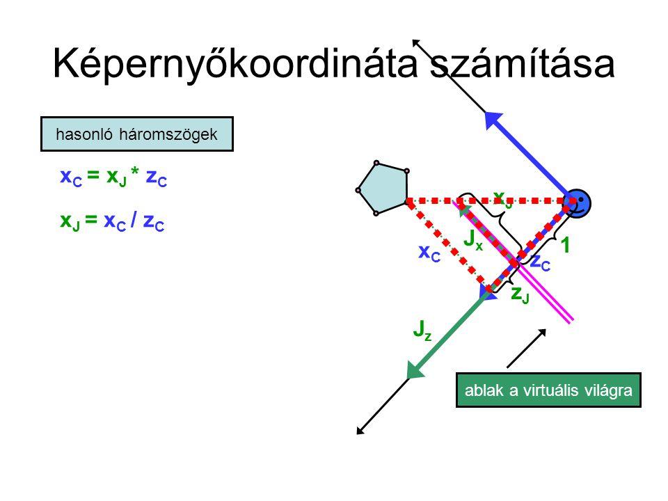 Ha a látószög nem 90 fok ablak a virtuális világra JzJz x C = x J * z C x J = x C / z C xCxC zCzC 1 hasonló háromszögek JxJx xJxJ zJzJ Jx az egység Osztani kell az ablakunk fél szélességével így ez 0.5 itt van az 1.0 FOV látószög x J = (x C / z C ) / tan(FOV/2) Ha FOV = 90 fok akkor ez 1