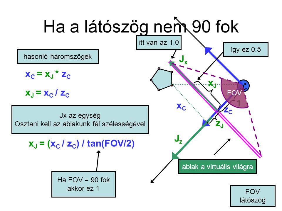 Perspektív transzformáció A vetítés is homogén linearis transzformáció: ezt is lehet mátrixszorzással DE nem affin: utolsó oszlop nem [0 0 1] homogén koordinátákban kapjuk meg az eredményt, és h általában nem 1 utána osztani kell h-val hogy rendes Descartes koodinátákat kapjunk x Jhomo / h Jhomo = (x C / z C ) / tan(FOV/2)