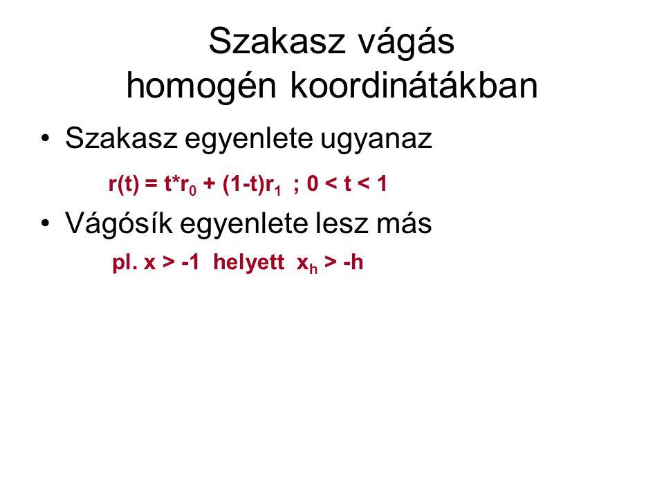 Példa Vágjuk a [2 3 4 1] – [5 6 -7 -1] szakaszt a z > 1 féltérre (homogénben: z > h) Szakasz egyenlete (csak a z meg a h fog kelleni a t meghatározásához) Vágósík egyenlete x(t) = t x 0 + (1-t)x 1 y(t) = t y 0 + (1-t)y 1 z(t) = t z 0 + (1-t)z 1 = (4 + 7)t - 7 = 11t - 7 h(t) = t h 0 + (1-t)h 1 = (1 - (-1))t - 1 = 2t - 1 z(t) = h(t);11t - 7 = 2t - 1; t = 6/9 = 2/3 ez bent van ez kint van