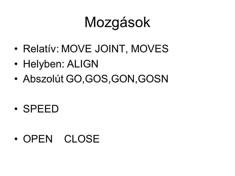 Mozgások Relatív: MOVE JOINT, MOVES Helyben: ALIGN Abszolút GO,GOS,GON,GOSN SPEED OPEN CLOSE
