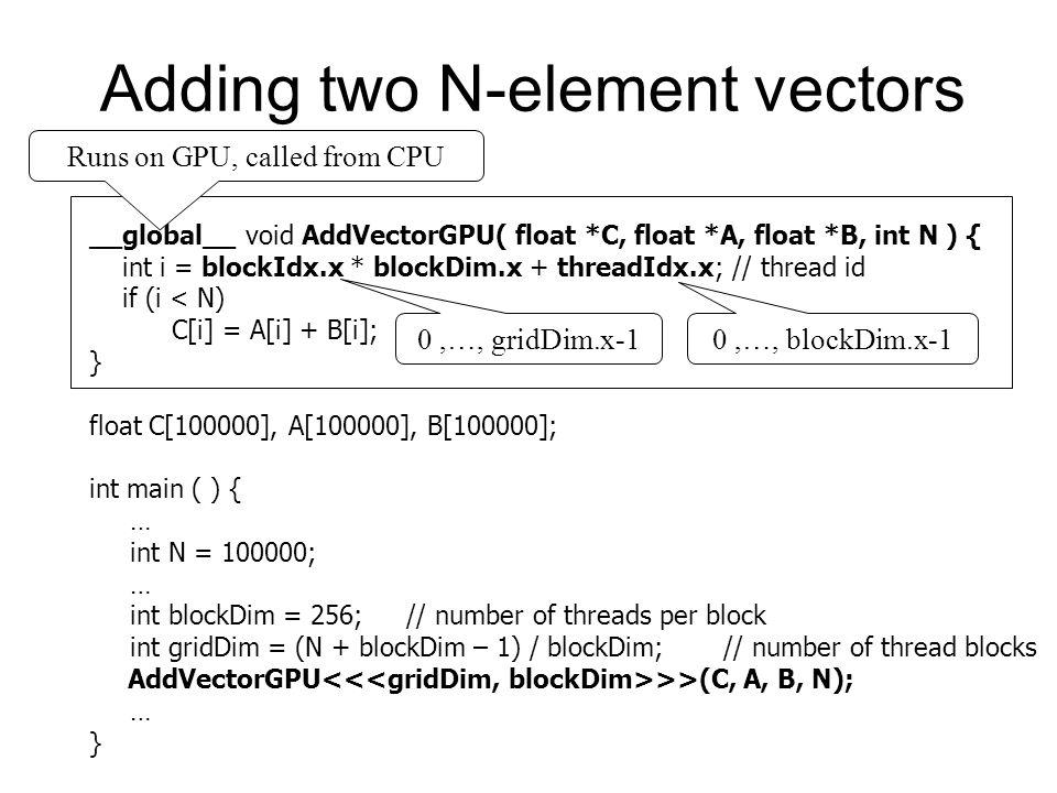Adding two N-element vectors __global__ void AddVectorGPU( float *C, float *A, float *B, int N ) { int i = blockIdx.x * blockDim.x + threadIdx.x; // t