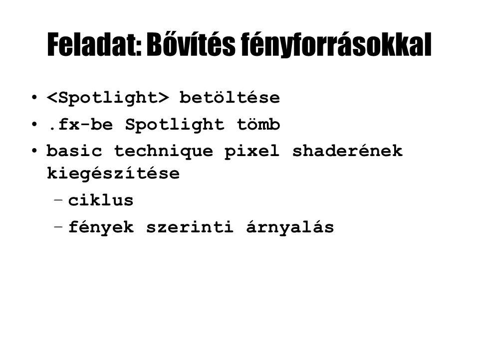 Feladat: Bővítés fényforrásokkal betöltése.fx-be Spotlight tömb basic technique pixel shaderének kiegészítése –ciklus –fények szerinti árnyalás