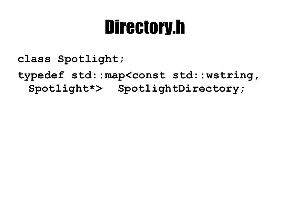 Directory.h class Spotlight; typedef std::map SpotlightDirectory;