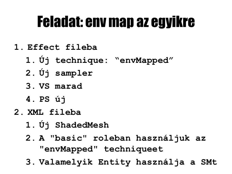 Feladat: env map az egyikre 1.Effect fileba 1.Új technique: envMapped 2.Új sampler 3.VS marad 4.PS új 2.XML fileba 1.Új ShadedMesh 2.A basic roleban használjuk az envMapped techniqueet 3.Valamelyik Entity használja a SMt