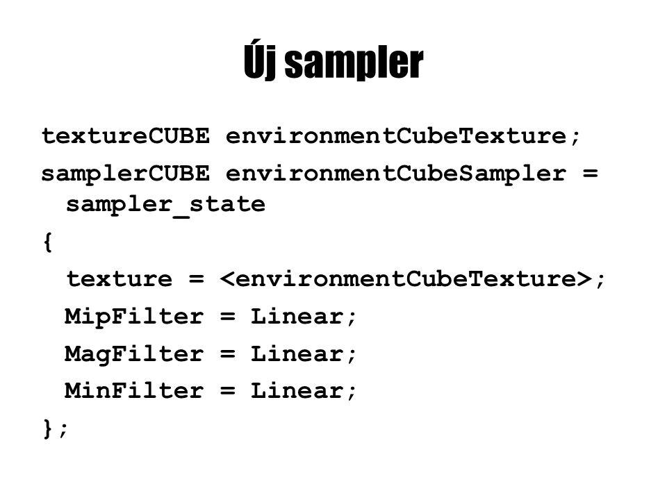 Új pixel shader float4 psEnvMapped(TrafoOutput input) : COLOR0 { float3 viewDir = normalize(eyePosition - input.worldPos); float3 reflectionDir = reflect(-viewDir, input.normal); return tex2D(kdMapSampler, input.tex) + texCUBE(environmentCubeSampler, reflectionDir) * 0.5; }