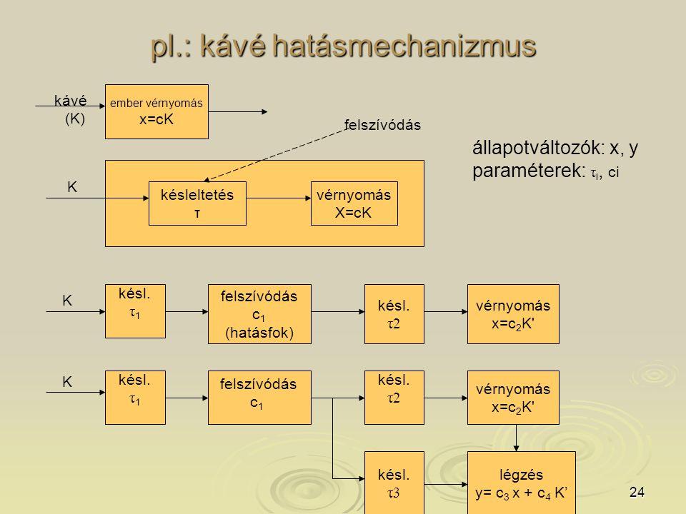 24 pl.: kávé hatásmechanizmus ember vérnyomás x=cK kávé (K) késleltetés τ vérnyomás X=cK K felszívódás késl.