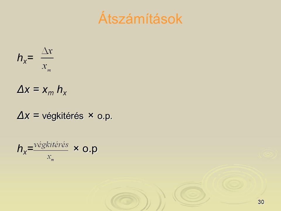 30 Átszámítások hx=hx= Δx = Δx = x m h x Δx = végkitérés × o.p. × o.p h x = × o.p