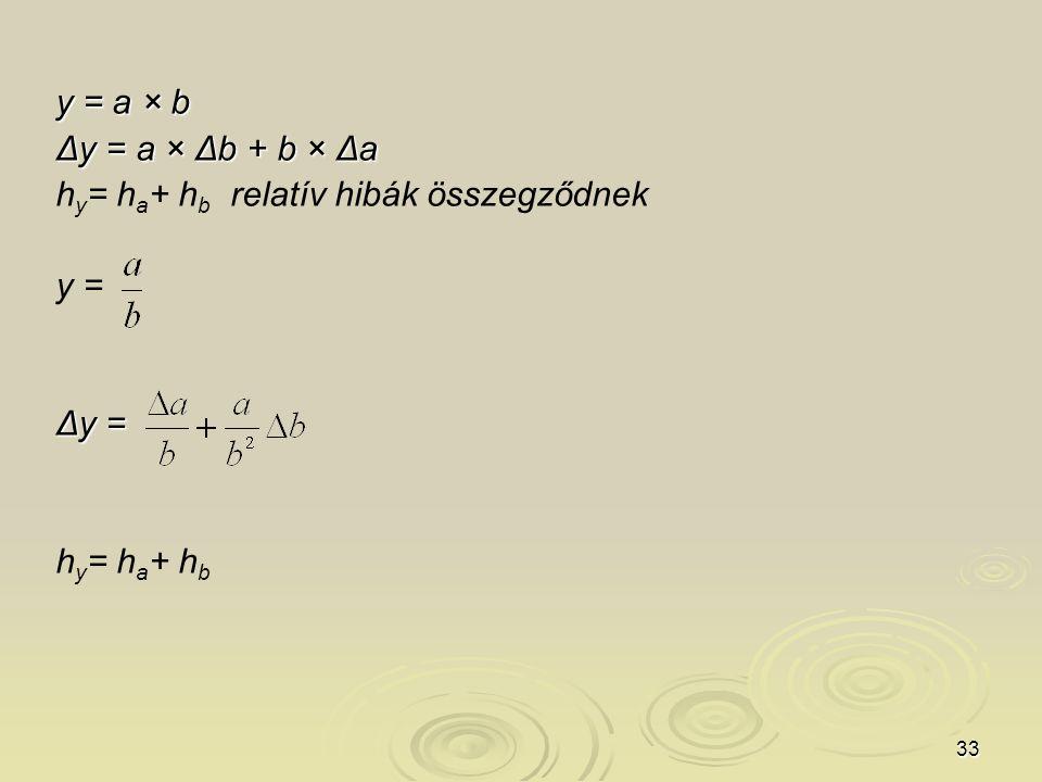 33 y = a × b Δy = a × Δb + b × Δa h y = h a + h b relatív hibák összegződnek y = Δy = h y = h a + h b