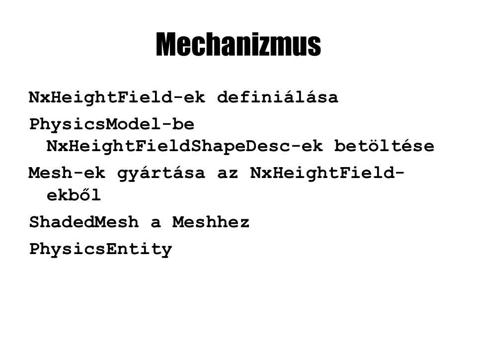 Mechanizmus NxHeightField-ek definiálása PhysicsModel-be NxHeightFieldShapeDesc-ek betöltése Mesh-ek gyártása az NxHeightField- ekből ShadedMesh a Meshhez PhysicsEntity