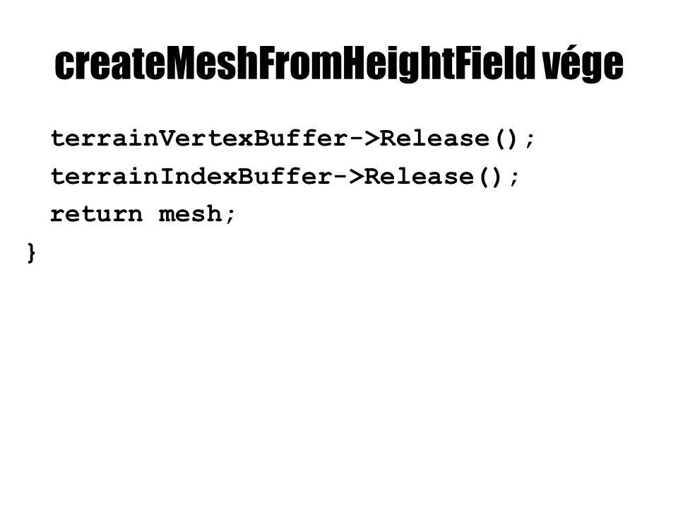 createMeshFromHeightField vége terrainVertexBuffer->Release(); terrainIndexBuffer->Release(); return mesh; }
