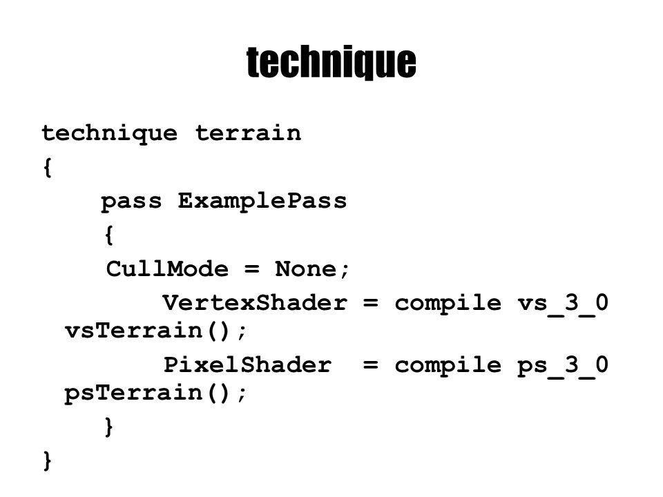 technique technique terrain { pass ExamplePass { CullMode = None; VertexShader = compile vs_3_0 vsTerrain(); PixelShader = compile ps_3_0 psTerrain(); }