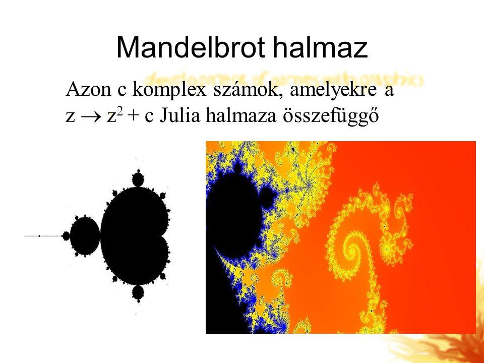 Mandelbrot halmaz Azon c komplex számok, amelyekre a z  z 2 + c Julia halmaza összefüggő