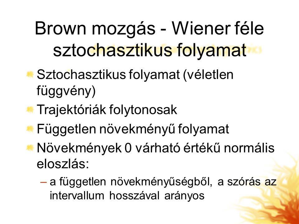 Brown mozgás - Wiener féle sztochasztikus folyamat Sztochasztikus folyamat (véletlen függvény) Trajektóriák folytonosak Független növekményű folyamat Növekmények 0 várható értékű normális eloszlás: –a független növekményűségből, a szórás az intervallum hosszával arányos