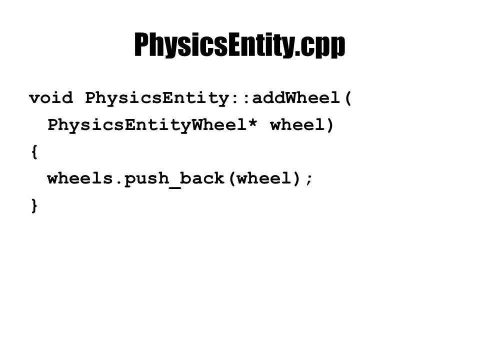 PhysicsEntity.cpp void PhysicsEntity::addWheel( PhysicsEntityWheel* wheel) { wheels.push_back(wheel); }