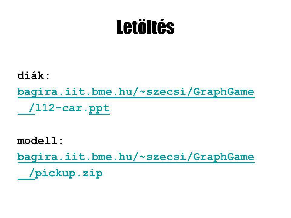 Letöltés diák: bagira.iit.bme.hu/~szecsi/GraphGame //l12-car.ppt modell: bagira.iit.bme.hu/~szecsi/GraphGame //pickup.zip