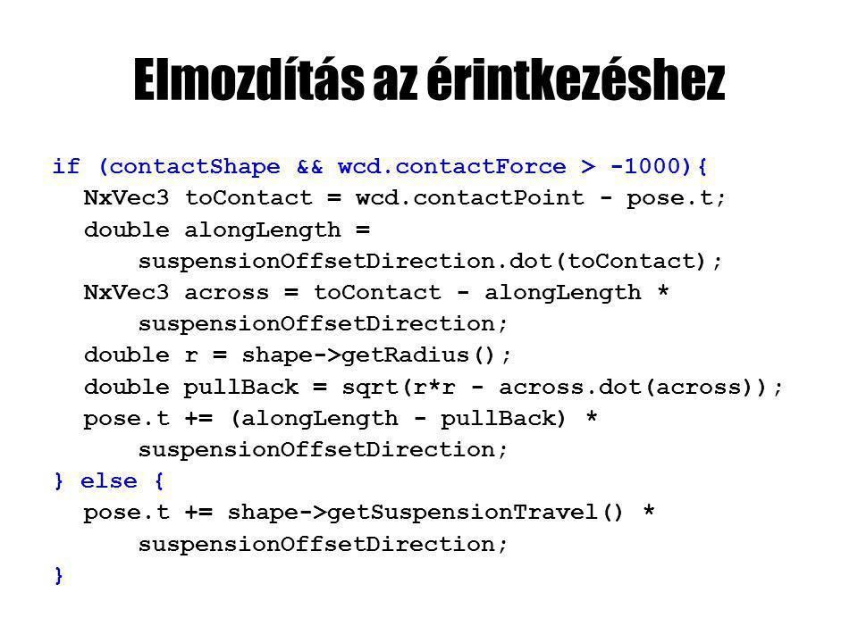 Elmozdítás az érintkezéshez if (contactShape && wcd.contactForce > -1000){ NxVec3 toContact = wcd.contactPoint - pose.t; double alongLength = suspensionOffsetDirection.dot(toContact); NxVec3 across = toContact - alongLength * suspensionOffsetDirection; double r = shape->getRadius(); double pullBack = sqrt(r*r - across.dot(across)); pose.t += (alongLength - pullBack) * suspensionOffsetDirection; } else { pose.t += shape->getSuspensionTravel() * suspensionOffsetDirection; }
