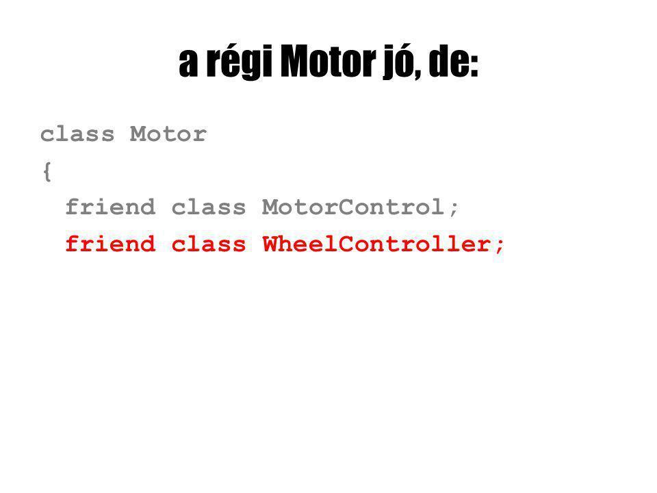 a régi Motor jó, de: class Motor { friend class MotorControl; friend class WheelController;