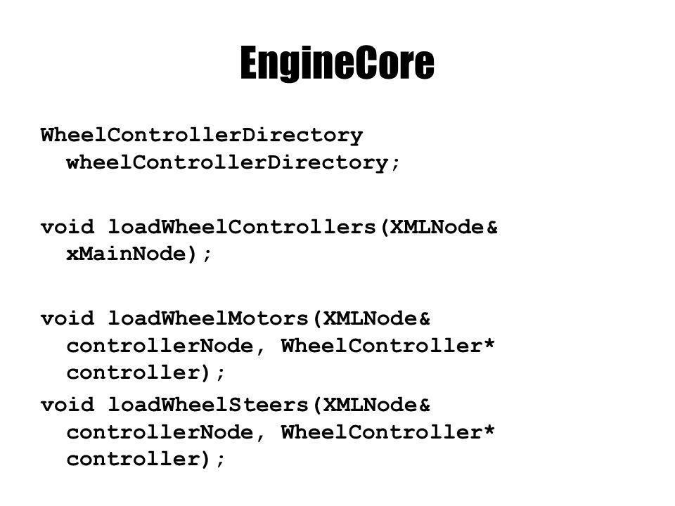EngineCore WheelControllerDirectory wheelControllerDirectory; void loadWheelControllers(XMLNode& xMainNode); void loadWheelMotors(XMLNode& controllerNode, WheelController* controller); void loadWheelSteers(XMLNode& controllerNode, WheelController* controller);