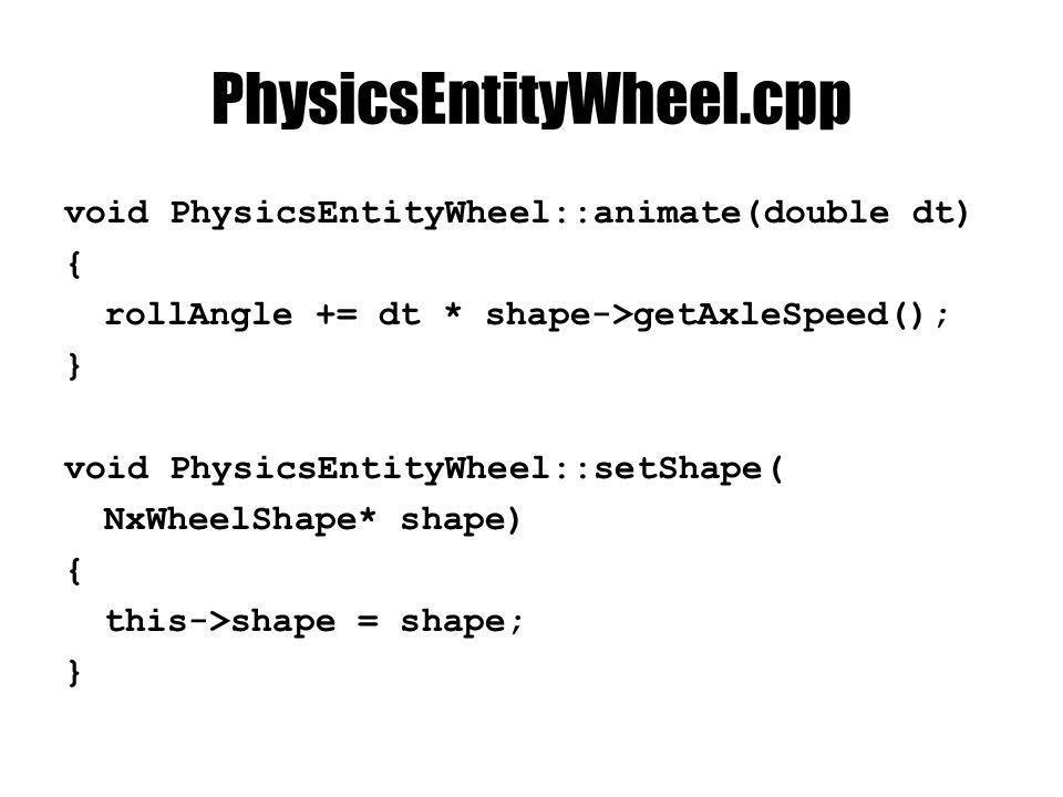 PhysicsEntityWheel.cpp void PhysicsEntityWheel::render(const RenderContext& context){ D3DXMATRIX modelMatrix, rollMatrix; D3DXMatrixRotationX(&rollMatrix, rollAngle); NxMat34 pose = shape->getGlobalPose(); pose.getColumnMajor44((NxF32*)&modelMatrix); D3DXMatrixMultiply(&modelMatrix, &rollMatrix, &modelMatrix); D3DXMATRIX modelMatrixInverse; D3DXMatrixInverse(&modelMatrixInverse, NULL, &modelMatrix); context.effect->SetMatrix( modelMatrix , &modelMatrix); context.effect->SetMatrix( modelMatrixInverse , &modelMatrixInverse); D3DXMATRIX modelViewProjMatrix = modelMatrix * context.camera->getViewMatrix() * context.camera->getProjMatrix(); context.effect->SetMatrix( modelViewProjMatrix , &modelViewProjMatrix); D3DXMATRIX modelViewMatrix = modelMatrix * context.camera->getViewMatrix(); context.effect->SetMatrix( modelViewMatrix , &modelViewMatrix); shadedMesh->render(context); }