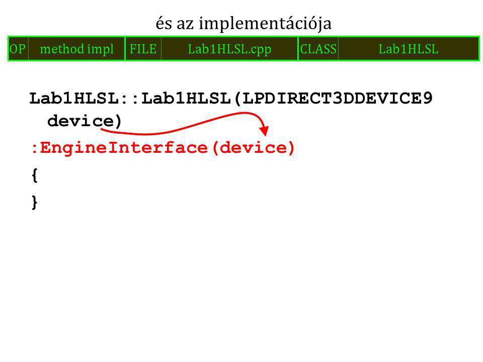 Lab1HLSL::Lab1HLSL(LPDIRECT3DDEVICE9 device) :EngineInterface(device) { } és az implementációja FILELab1HLSL.cppOPmethod implCLASSLab1HLSL