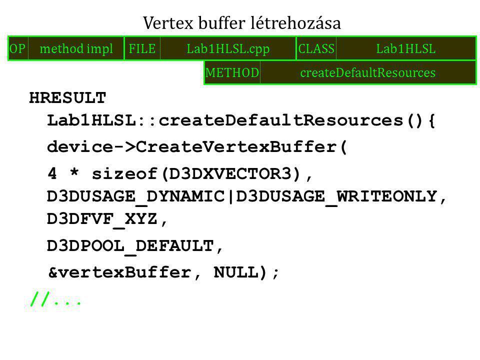 HRESULT Lab1HLSL::createDefaultResources(){ device->CreateVertexBuffer( 4 * sizeof(D3DXVECTOR3), D3DUSAGE_DYNAMIC|D3DUSAGE_WRITEONLY, D3DFVF_XYZ, D3DPOOL_DEFAULT, &vertexBuffer, NULL); //...