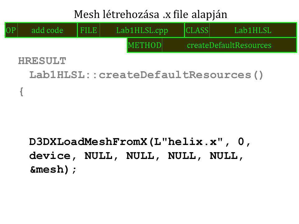 HRESULT Lab1HLSL::createDefaultResources() { D3DXLoadMeshFromX(L