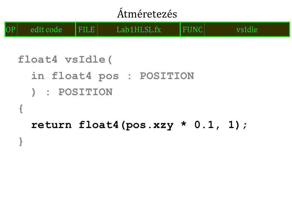 float4 vsIdle( in float4 pos : POSITION ) : POSITION { return float4(pos.xzy * 0.1, 1); } Átméretezés FILELab1HLSL.fxOPedit codeFUNCvsIdle