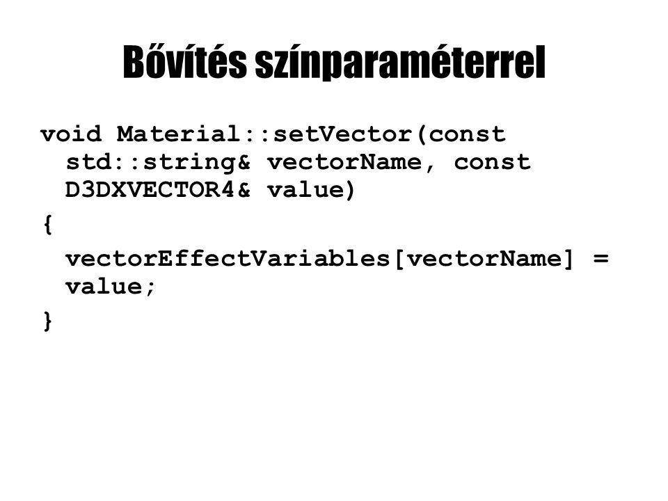 Bővítés színparaméterrel void Material::setVector(const std::string& vectorName, const D3DXVECTOR4& value) { vectorEffectVariables[vectorName] = value; }