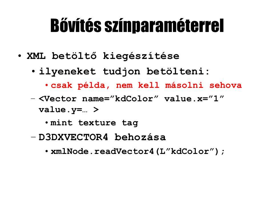 Bővítés színparaméterrel XML betöltő kiegészítése ilyeneket tudjon betölteni: csak példa, nem kell másolni sehova – mint texture tag –D3DXVECTOR4 behozása xmlNode.readVector4(L kdColor );