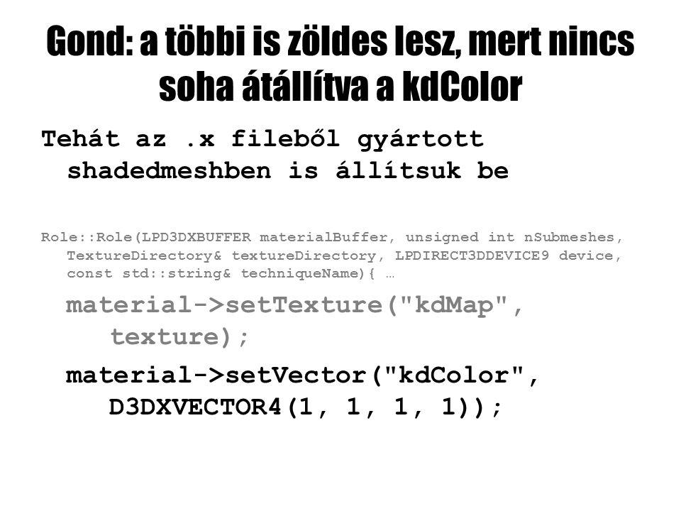 Gond: a többi is zöldes lesz, mert nincs soha átállítva a kdColor Tehát az.x fileből gyártott shadedmeshben is állítsuk be Role::Role(LPD3DXBUFFER materialBuffer, unsigned int nSubmeshes, TextureDirectory& textureDirectory, LPDIRECT3DDEVICE9 device, const std::string& techniqueName){ … material->setTexture( kdMap , texture); material->setVector( kdColor , D3DXVECTOR4(1, 1, 1, 1));