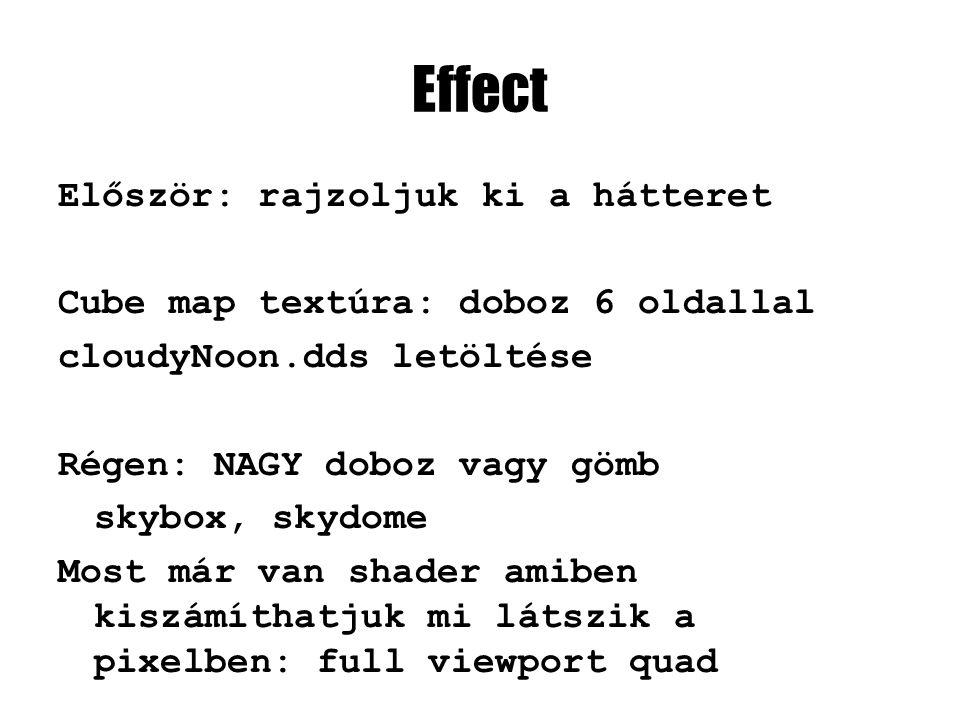 Effect Először: rajzoljuk ki a hátteret Cube map textúra: doboz 6 oldallal cloudyNoon.dds letöltése Régen: NAGY doboz vagy gömb skybox, skydome Most m