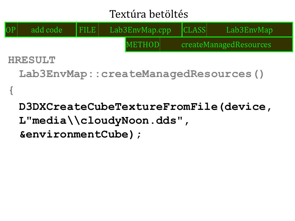HRESULT Lab3EnvMap::createManagedResources() { D3DXCreateCubeTextureFromFile(device, L