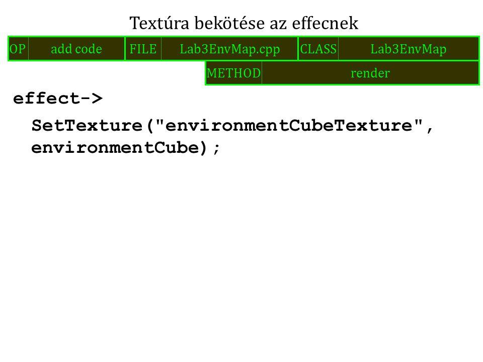 effect-> SetTexture( environmentCubeTexture , environmentCube); Textúra bekötése az effecnek FILELab3EnvMap.cppOPadd codeCLASSLab3EnvMap METHODrender