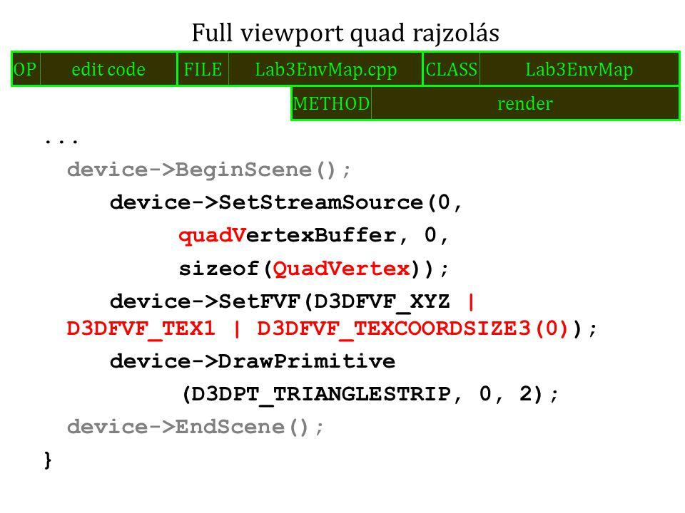 ... device->BeginScene(); device->SetStreamSource(0, quadVertexBuffer, 0, sizeof(QuadVertex)); device->SetFVF(D3DFVF_XYZ   D3DFVF_TEX1   D3DFVF_TEXCOO