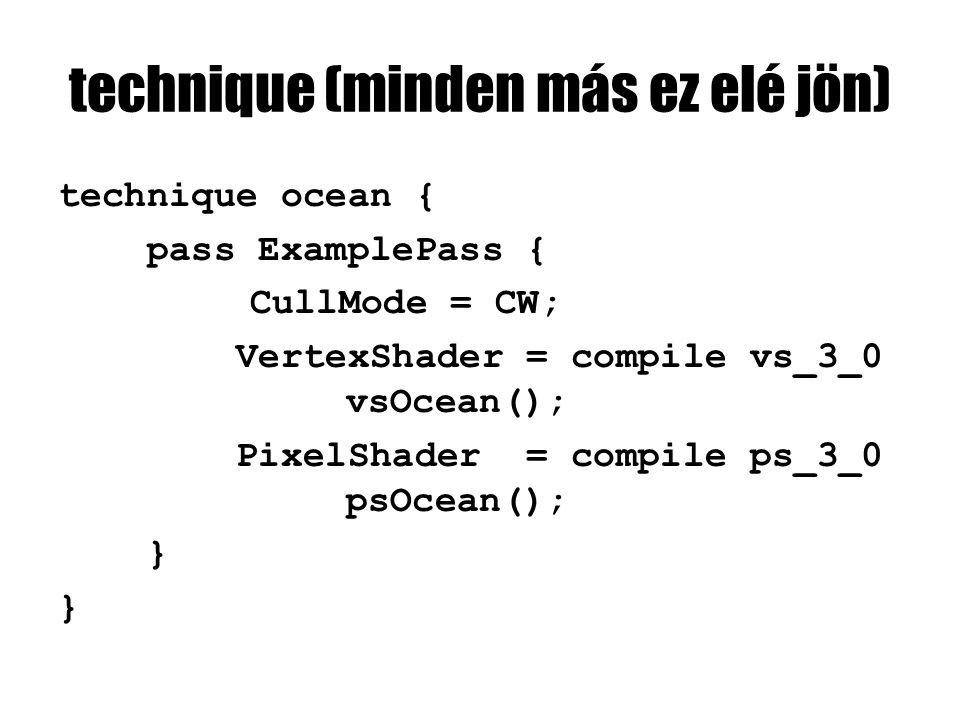 technique (minden más ez elé jön) technique ocean { pass ExamplePass { CullMode = CW; VertexShader = compile vs_3_0 vsOcean(); PixelShader = compile p