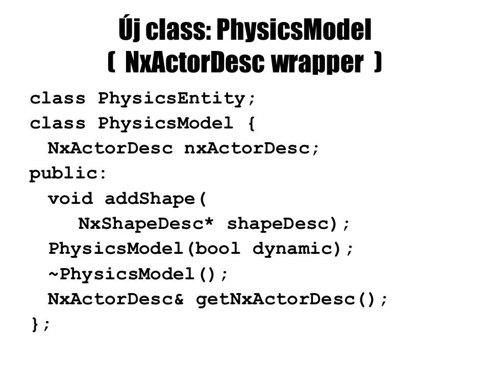 Új class: PhysicsModel ( NxActorDesc wrapper ) class PhysicsEntity; class PhysicsModel { NxActorDesc nxActorDesc; public: void addShape( NxShapeDesc* shapeDesc); PhysicsModel(bool dynamic); ~PhysicsModel(); NxActorDesc& getNxActorDesc(); };