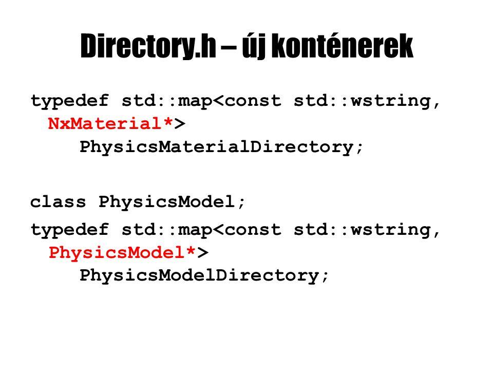PhysicsEntity.cpp #include PhysicsModel.h #include ShadedMesh.h #include Camera.h PhysicsEntity::PhysicsEntity( ShadedMesh* shadedMesh, PhysicsModel* physicsModel, NxScene* nxScene, const NxVec3& position) :Entity(shadedMesh) { NxActorDesc& nxActorDesc = physicsModel->getNxActorDesc(); nxActorDesc.globalPose.t = position; nxActor = nxScene->createActor(nxActorDesc); }