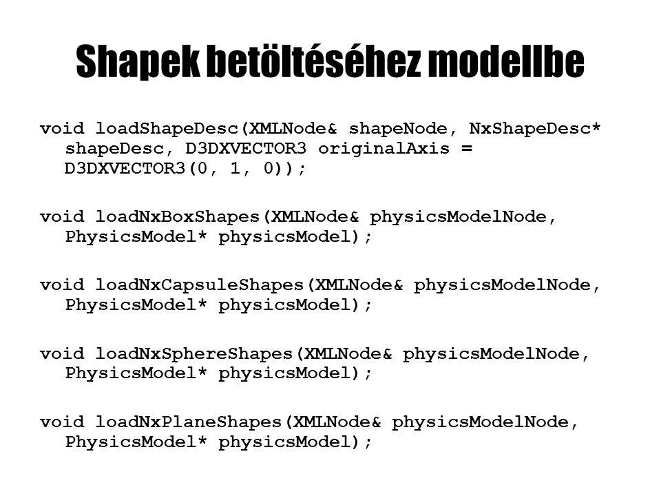 void EngineCore::loadPhysicsModels(XMLNode& xMainNode) { int iPhysicsModel = 0; XMLNode physicsModelNode; while( !(physicsModelNode = xMainNode.getChildNode(L PhysicsModel , iPhysicsModel)).isEmpty() ) { const wchar_t* physicsModelName = physicsModelNode L name ; PhysicsModel* physicsModel; const wchar_t* dynamismString = physicsModelNode L dynamism ; if(dynamismString && wcscmp(dynamismString, L static ) == 0) { physicsModel = new PhysicsModel(false); loadNxPlaneShapes(physicsModelNode, physicsModel); } else physicsModel = new PhysicsModel(true); loadNxBoxShapes(physicsModelNode, physicsModel); loadNxCapsuleShapes(physicsModelNode, physicsModel); loadNxSphereShapes(physicsModelNode, physicsModel); physicsModelDirectory[physicsModelName] = physicsModel; iPhysicsModel++; }