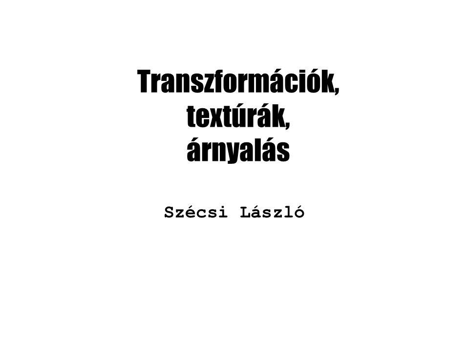 Transzformációk, textúrák, árnyalás Szécsi László