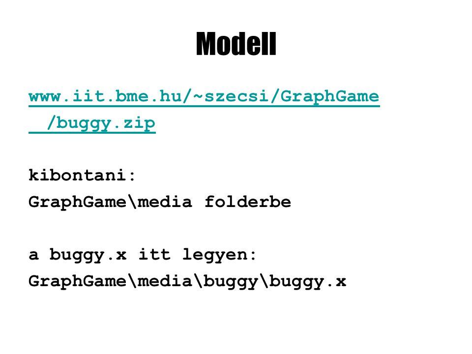 Modell www.iit.bme.hu/~szecsi/GraphGame /buggy.zip kibontani: GraphGame\media folderbe a buggy.x itt legyen: GraphGame\media\buggy\buggy.x