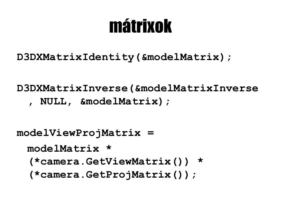 mátrixok D3DXMatrixIdentity(&modelMatrix); D3DXMatrixInverse(&modelMatrixInverse, NULL, &modelMatrix); modelViewProjMatrix = modelMatrix * (*camera.GetViewMatrix()) * (*camera.GetProjMatrix());