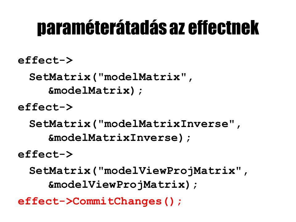 paraméterátadás az effectnek effect-> SetMatrix( modelMatrix , &modelMatrix); effect-> SetMatrix( modelMatrixInverse , &modelMatrixInverse); effect-> SetMatrix( modelViewProjMatrix , &modelViewProjMatrix); effect->CommitChanges();
