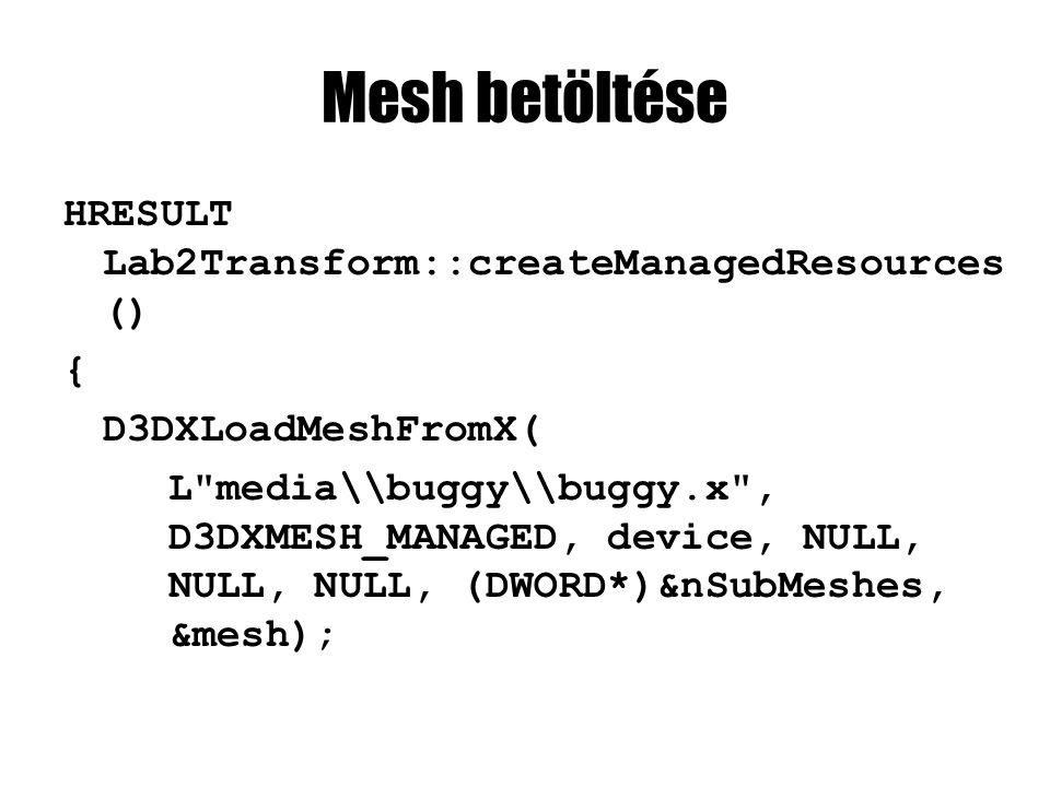 Mesh felszabadítása HRESULT Lab2Transform::releaseManagedResources () { mesh->Release(); return S_OK; }