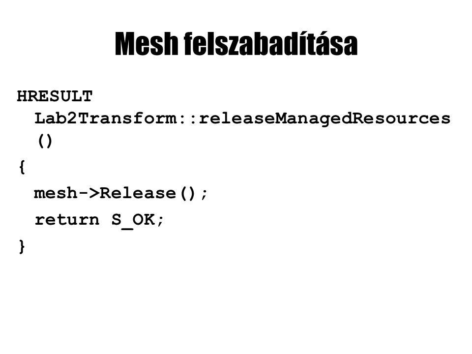 mesh rajzolása effect->BeginPass(0); for(int i=0; i<nSubMeshes; i++) { mesh->DrawSubset(i); } effect->EndPass();