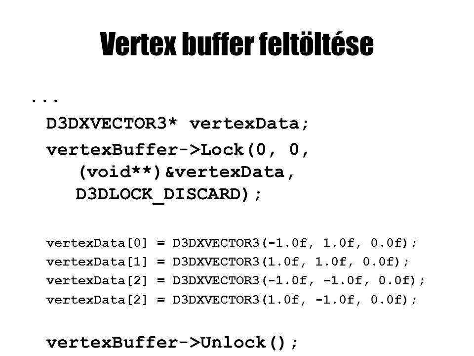 Vertex buffer feltöltése... D3DXVECTOR3* vertexData; vertexBuffer->Lock(0, 0, (void**)&vertexData, D3DLOCK_DISCARD); vertexData[0] = D3DXVECTOR3(-1.0f
