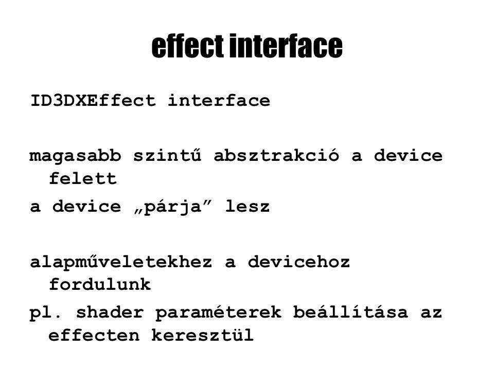 """effect interface ID3DXEffect interface magasabb szintű absztrakció a device felett a device """"párja"""" lesz alapműveletekhez a devicehoz fordulunk pl. sh"""