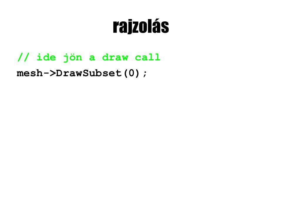 rajzolás // ide jön a draw call mesh->DrawSubset(0);
